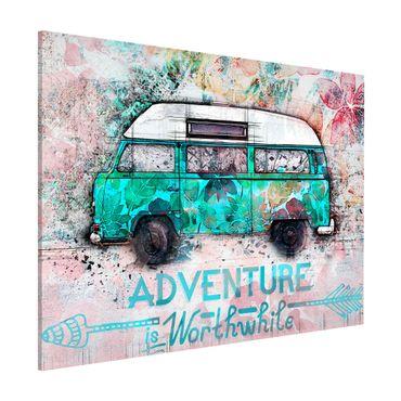 Magnettafel - Bulli Adventure Collage Pastell - Memoboard Querformat 3:4