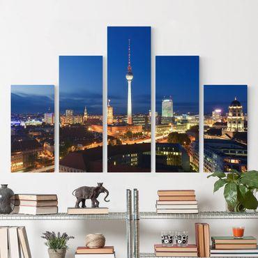 Leinwandbild 5-teilig - Fernsehturm bei Nacht