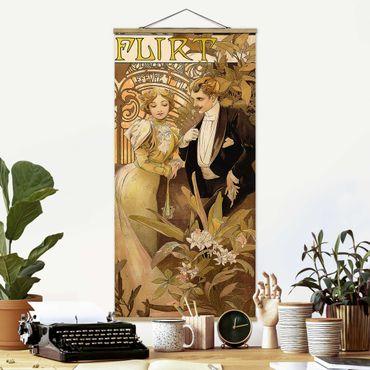 Stoffbild mit Posterleisten - Alfons Mucha - Werbeplakat für Flirt Biscuits - Hochformat 1:2