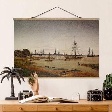 Stoffbild mit Posterleisten - Caspar David Friedrich - Hafen bei Mondschein - Querformat 2:3