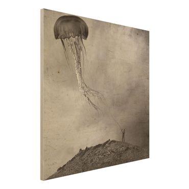 Holzbild - Fliegende Medusa - Quadrat 1:1