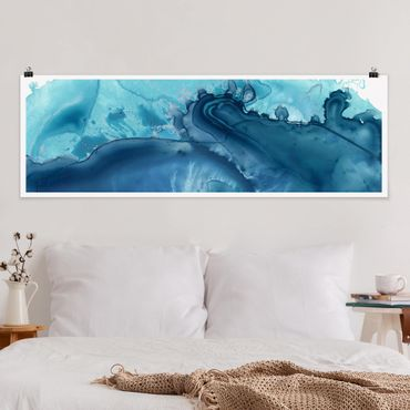 Poster - Welle Aquarell Blau I - Panorama Querformat