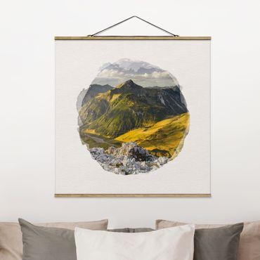 Stoffbild mit Posterleisten - Wasserfarben - Berge und Tal der Lechtaler Alpen in Tirol - Quadrat 1:1