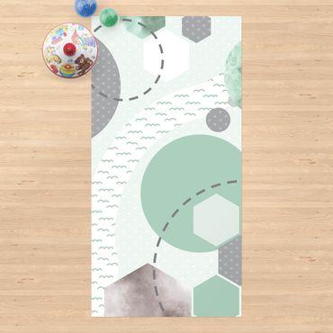 Vinyl-Teppich - Kinderteppich grafisch - Wald und Fluss - Hochformat 1:2