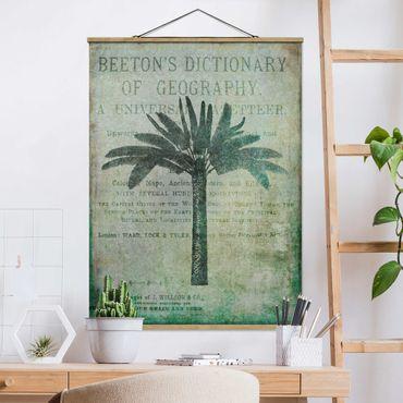 Stoffbild mit Posterleisten - Vintage Collage - Antike Palme - Hochformat 4:3