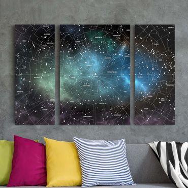 Leinwandbild 3-teilig - Sternbilder Karte Galaxienebel - Tryptichon