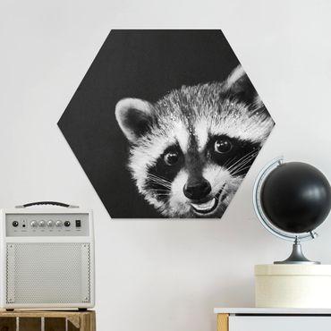 Hexagon Bild Forex - Illustration Waschbär Schwarz Weiß Malerei