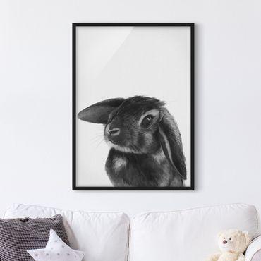 Bild mit Rahmen - Illustration Hase Schwarz Weiß Zeichnung - Hochformat 4:3