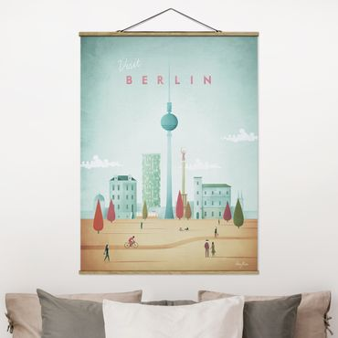 Stoffbild mit Posterleisten - Reiseposter - Berlin - Hochformat 4:3