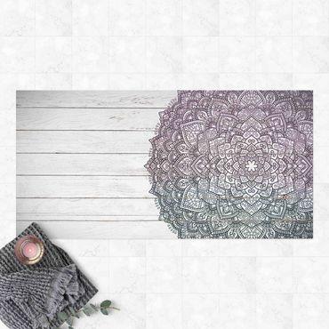 Vinyl-Teppich - Mandala Lotusblüte Holzoptik weiß - Querformat 2:1