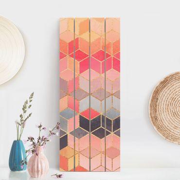 Holzbild - Elisabeth Fredriksson - Buntes Pastell goldene Geometrie - Hochformat 5:2