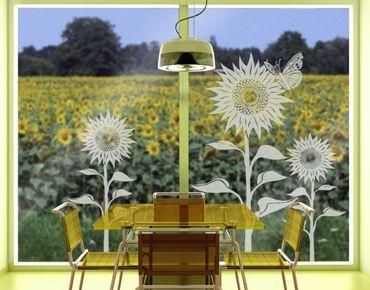 Fensterfolie - Fenstertattoo No.IS59 Sonnenblumen - Milchglasfolie