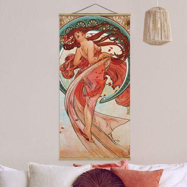 Stoffbild mit Posterleisten - Alfons Mucha - Vier Künste - Der Tanz - Hochformat 1:2