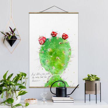 Stoffbild mit Posterleisten - Kaktus mit Bibelvers IV - Hochformat 2:3
