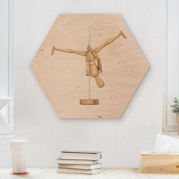 Hexagon Bild Holz - Jonas Loose - Poledance mit Holzfigur