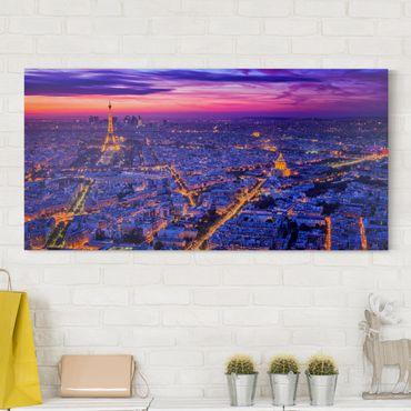 Leinwandbild - Paris bei Nacht - Querformat 1:2