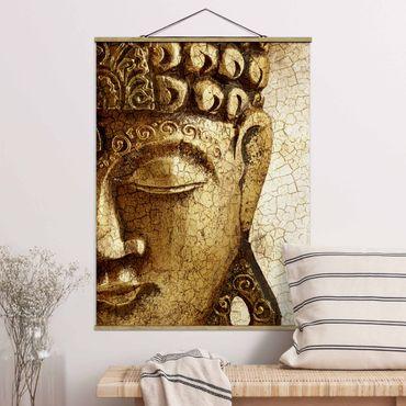 Stoffbild mit Posterleisten - Vintage Buddha - Hochformat 3:4