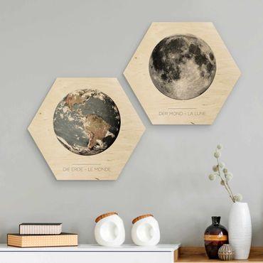 Hexagon Bild Holz 2-teilig - Mond und Erde