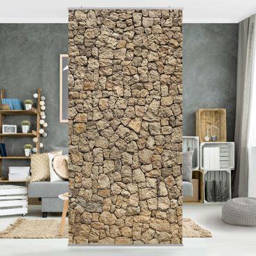 Raumteiler - Alte Wand aus Pflasterstein 250x120cm