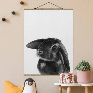 Stoffbild mit Posterleisten - Laura Graves - Illustration Hase Schwarz Weiß Zeichnung - Hochformat 3:4