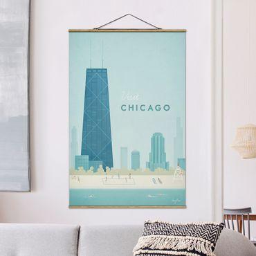 Stoffbild mit Posterleisten - Reiseposter - Chicago - Hochformat 3:2