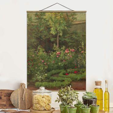 Stoffbild mit Posterleisten - Camille Pissarro - Ein Rosengarten - Hochformat 3:4