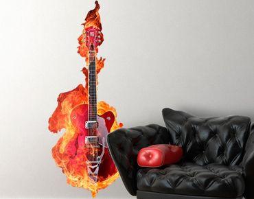 Wandtattoo No.205 Gitarre in Flammen