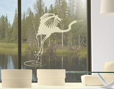 Fensterfolie - Fenstertattoo No.MW5 Jagender Kranich - Milchglasfolie