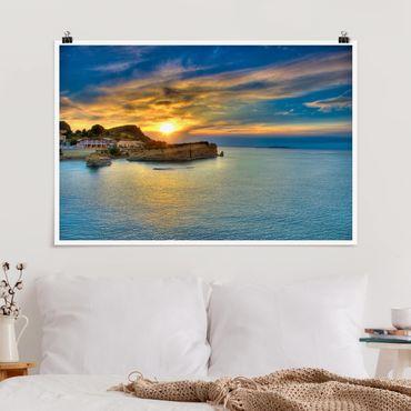 Poster - Sonnenuntergang über Korfu - Querformat 2:3