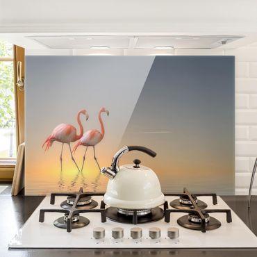 Spritzschutz Glas - Flamingo Love - Querformat - 3:2