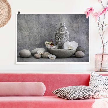 Poster - Zen Buddha, Orchideen und Steine - Querformat 2:3