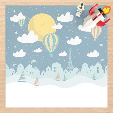 Vinyl-Teppich - Paris mit Sternen und Heißluftballon - Quadrat 1:1