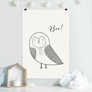 Poster - Eule Boo Zeichnung - Hochformat 3:2