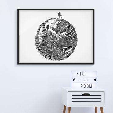 Bild mit Rahmen - Illustration Gürteltiere Schwarz Weiß Muster - Querformat 3:4