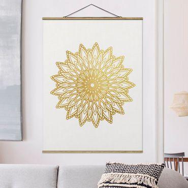 Stoffbild mit Posterleisten - Mandala Sonne Illustration weiß gold - Hochformat 3:4