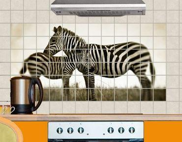 Fliesenbild - Zebrapaar