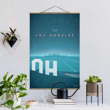 Stoffbild mit Posterleisten - Reiseposter - Los Angeles - Hochformat 3:2