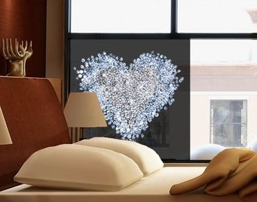 Fensterfolie - Sichtschutz Fenster Diamant Herz - Fensterbilder