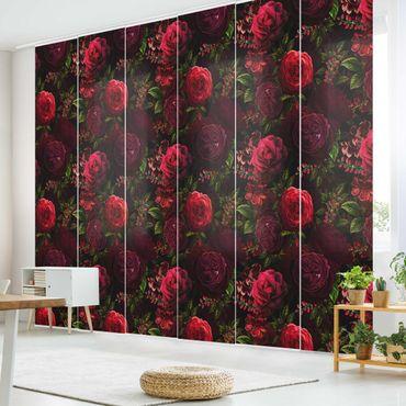 Schiebegardinen Set - Rote Rosen vor Schwarz - 6 Flächenvorhänge
