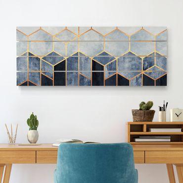 Holzbild - Elisabeth Fredriksson - Goldene Sechsecke Blau Weiß - Querformat 2:5