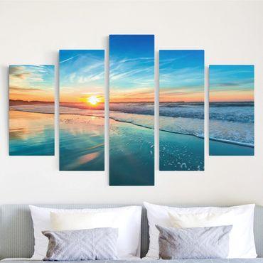 Leinwandbild 5-teilig - Romantischer Sonnenuntergang am Meer