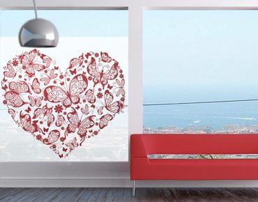 Fensterfolie - Sichtschutz Fenster Herz aus Schmetterlingen - Fensterbilder