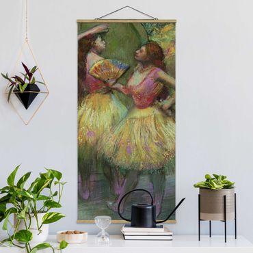 Stoffbild mit Posterleisten - Edgar Degas - Zwei Tänzerinnen - Hochformat 1:2