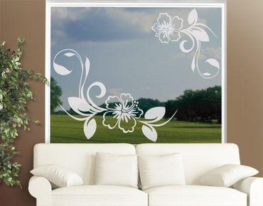 Fensterfolie - Fenstertattoo - Fensterdeko - No.CA10 Hibiskustraum - Fensterbilder Frühling