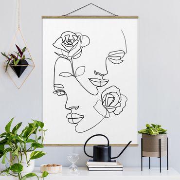 Stoffbild mit Posterleisten - Line Art Gesichter Frauen Rosen Schwarz Weiß - Hochformat 3:4