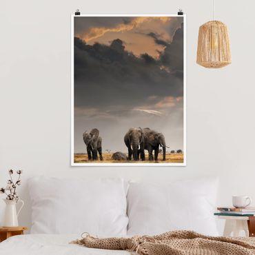 Poster - Elefanten der Savanne - Hochformat 3:4