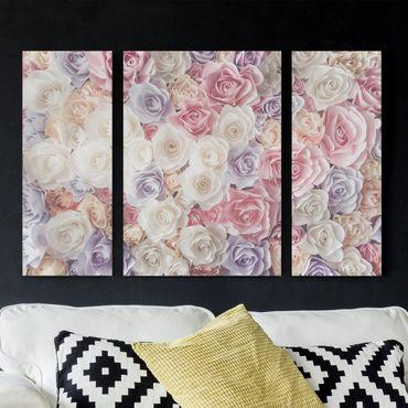 Leinwandbild 3-teilig - Pastell Paper Art Rosen - Triptychon