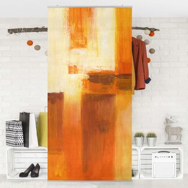 Raumteiler - Petra Schüßler - Komposition in Orange und Braun 01 250x120cm