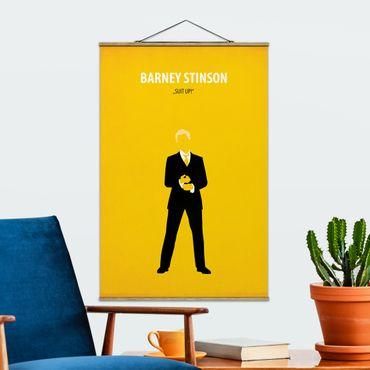 Stoffbild mit Posterleisten - Filmposter Barney Stinson - Hochformat 3:2