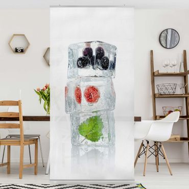 Raumteiler - Himbeere Melisse und Blaubeeren im Eiswürfel 250x120cm